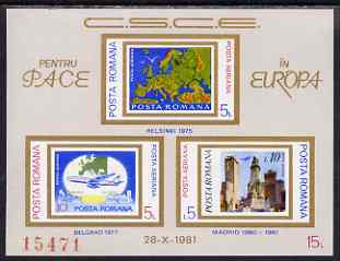 Rumania 1981 European Security & Co-operation Conference imperf m/sheet from limited printing unmounted mint (Mi Bl 183) , stamps on
