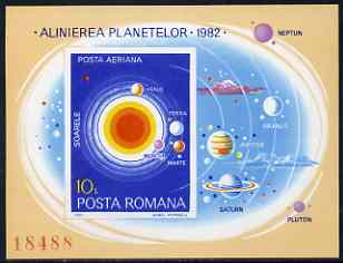 Rumania 1981 The Planets (orbiting the sun) imperf m/sheet from limited printing unmounted mint Mi Bl 182 , stamps on