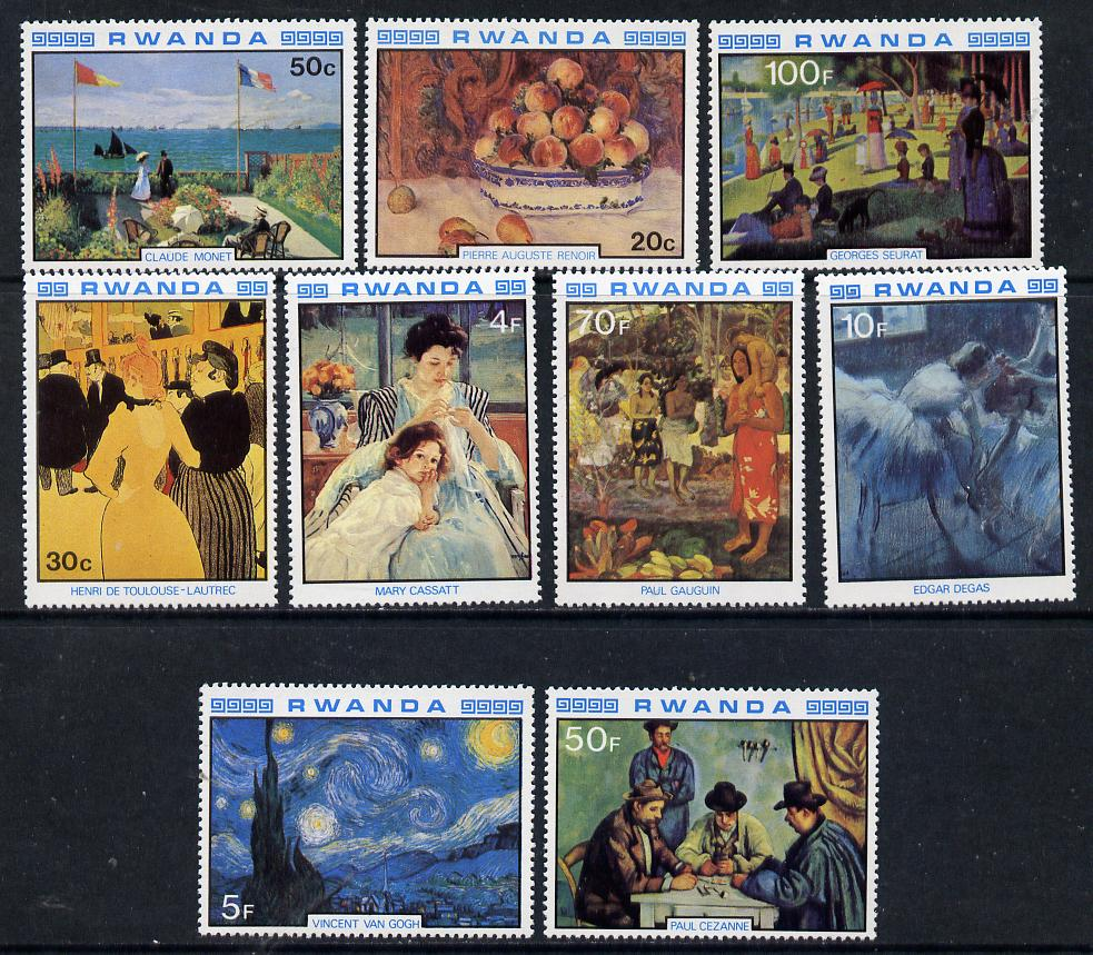 Rwanda 1980 Impressionist Paintings perf set of 9 unmounted mint, SG 996-1004