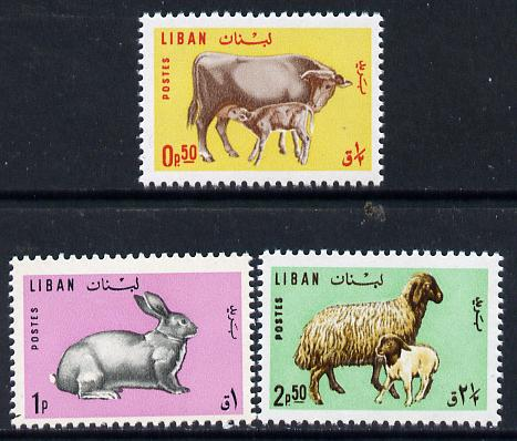 Lebanon 1965 Animals set of 3 (Rabbit, Sheep & Cow) SG 884-86