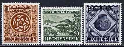 Liechtenstein 1953 Opening of National Museum set of 3 fine mtd mint, SG 317-19