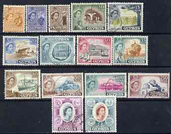 Cyprus 1955-60 QEII definitive set complete 2m to \A31 fine cds used SG 173-87