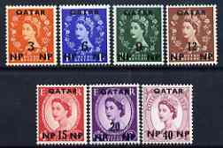 Qatar 1960 Wilding New wmk surch set of 7 mtd mint SG 20-26