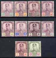 Malaya - Johore 1910-19 Sultan set complete, 50c very lightly used rest mounted mint, SG78-87 cat \A3250