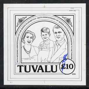 Tuvalu 1987 Ruby Wedding advanced stage stamp size proof in black ink for the 22k gold embossed issues, design denominated as \A310 and amended in blue to show correct value of $10