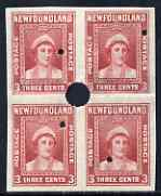 Newfoundland 1941-44 KG6 Queen Mother 3c red imperf marginal PROOF block of 4 each stamp with Waterlow security punch hole, some wrinkles but a scarce KG6 item, as SG 278