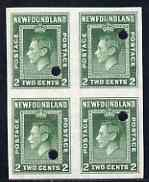 Newfoundland 1941-44 KG6 2c green imperf marginal PROOF block of 4 each stamp with Waterlow security punch hole, a scarce KG6 item, as SG 277