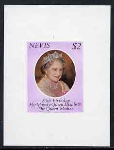 Nevis 1980 Queen Mother 80th Birthday $2 unmounted mint imperf proof sheet in issued colours