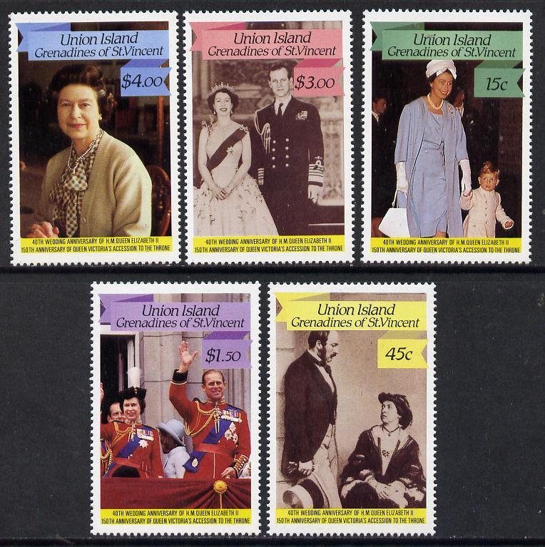 St Vincent - Union Island 1987 Ruby Wedding set of 5  unmounted mint