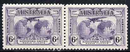 Australia 1931 Kingsford Smith 6d horiz pair one stamp with major retouch (var is unmounted mint) SG123/a