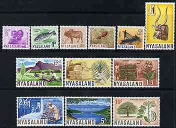 Nyasaland 1964 Pictorial definitive set complete 1/2d to \A31 - 12 values unmounted mint SG 199-210