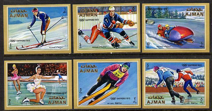 Ajman 1970 Winter Olympics imperf set of 6 unmounted mint (Mi 662-7B)