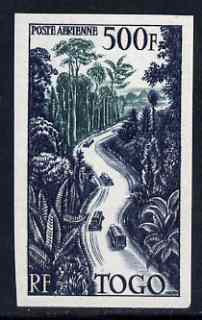Togo 1954 Roadway through Forest 500f Air fine unmounted mint IMPERF from limited printing, as SG 191 cat \A355 as normal
