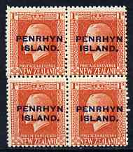 Cook Islands - Penrhyn 1917-20 KG5 1s vermilion P14 x 14.5 block of 4, unmounted mint SG 27a