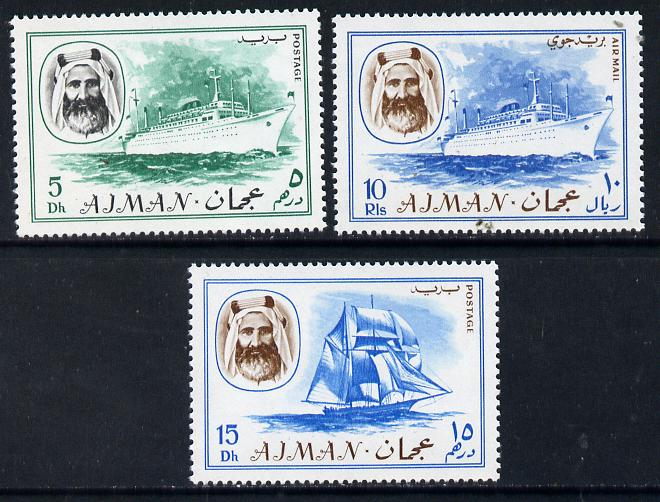 Ajman 1967 Ships (5Dh, 15Dh & 10R from Transport perf set of 14) unmounted mint Mi 131, 132 & 140*