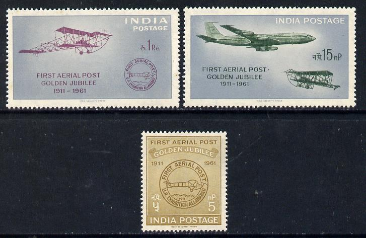 India 1961 First Official Airmail Flight Anniversary set of 3 unmounted mint, SG 434-36