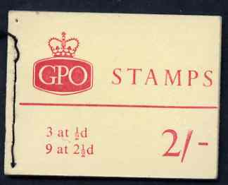 Booklet - Great Britain 1963-64 Wilding Crowns 2s Holiday booklet (black stitching) complete SG NR1, stamps on