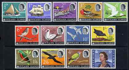 Pitcairn Islands 1964-65 QEII Birds & Ships definitive set of 13 values complete 1/2d to 8s unmounted mint, SG 36-48
