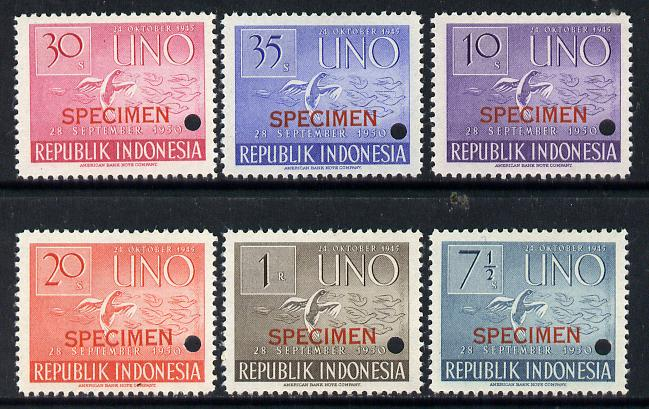 Indonesia 1951 United Nations set of 6 opt'd SPECIMEN with security punch holes (Ex ABNCo archive file sheet) unmounted mint