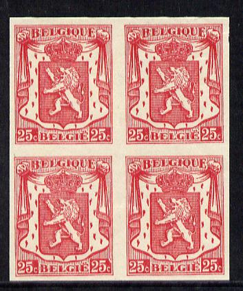 Belgium 1936 Belgian Lion 25c carmine imperf block of 4, few gum wrinkles otherwise fine unmounted mint