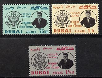 Dubai 1964 Pres Kennedy Memorial set of 3 unmounted mint S 47-49