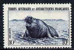 French Southern & Antarctic Territories 1956-60 Elephant Seal 10f very lightly mounted SG 10