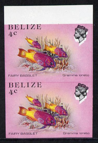 Belize 1984-88 Fairy Basslet 4c def in unmounted mint imperf pair showing superb 2mm shift of black (as SG 769) very fine double variety
