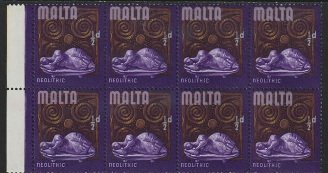 Malta 1965-70 Historical def 1/2d marginal block of 8 with pink (Malta) doubled unmounted mint, SG 330var)