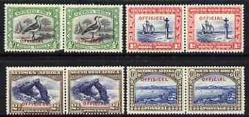 South West Africa 1931 Official 3 vals only (ex 1/2d) horiz bilingual pairs mtd mint SG O14-O16