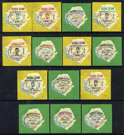 Sierra Leone 1964 Kennedy Memorial set of 14 fine cds used, SG 299-312, stamps on kennedy  personalities  maps