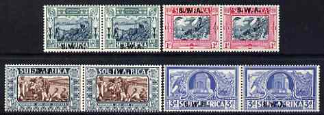 South West Africa 1938 KG6 Voortrekker Centenary Memorial Fund set of 8 (4 horiz se-tenant pairs) lightly mounted mint SG 105-108