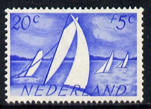 Netherlands 1949 Scouts Cultural Fund 20c + 5c (Yachts) SG 683, stamps on ships      scouts    sailing
