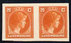 Luxembourg 1944 Grand Duchess Charlotte (SG type 70) IMPERF proof pair of 20c in orange-red on thick card (ex ABN Co archives - only one sheet known)