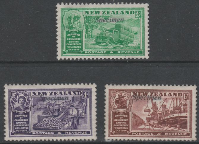 New Zealand 1936 Chamber of Commerce 1/2d, 4d & 6d opt'd SPECIMEN, without gum status unknown