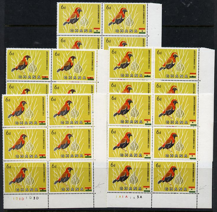 Ghana 1959-61 Red Crowned Bishop Bird 6d - four plate blocks of 6 each with different minor colour shifts affecting the bird and the flag, with matched normal block (24 v...