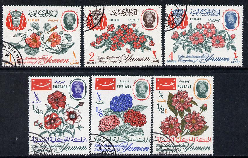 Yemen - Royalist 1965 Flowers set of 6 cto, Mi 182-87 (SG R106-111), stamps on flowers      roses