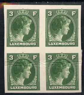 Luxembourg 1944 Grand Duchess Charlotte (SG type 70) IMPERF proof block of 4 of 3F in green on thick card (ex ABN Co archives) horiz crease but only one sheet known