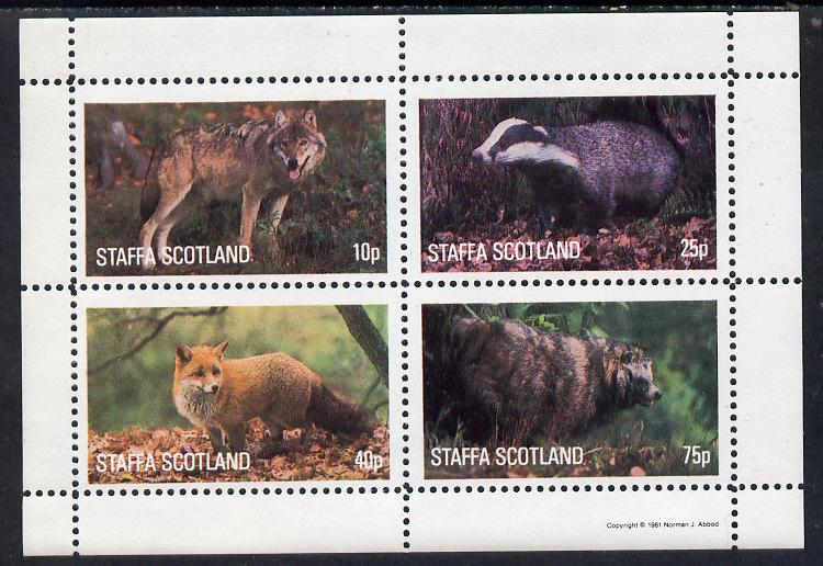 Staffa 1981 Animals #1 (Fox, Badger, etc) perf  set of 4 values (10p to 75p) unmounted mint