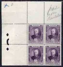 Monaco 1923 Prince Louis 25c purple perf proof corner block of 4 from printer