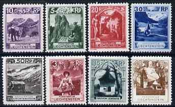 Liechtenstein 1930 Pictorials 8 vals (various perfs) vlm, Mi 94-97 & 99-102