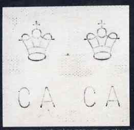 Sierra Leone 1897 piece of card bearing watermark proof pair of Crown & CA motiffs as used for 'Long stamps'