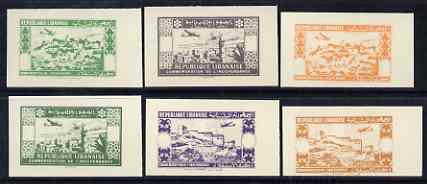 Lebanon 1944 2nd Anniversary of Independence \D4Air\D5 set of 6 UNDENOMINATED colour trial Proofs in near issued colours on card (SG 269-74)