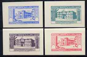 Lebanon 1944 2nd Anniversary of Independence \D4Postage\D5 set of 4 UNDENOMINATED colour trial Proofs in near issued colours on card (SG 265-68)