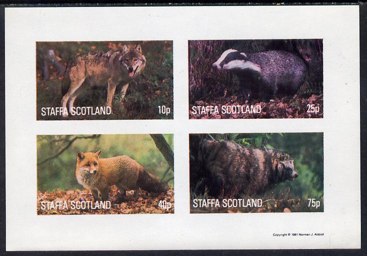 Staffa 1981 Animals #1 (Fox, Badger, etc) imperf  set of 4 values (10p to 75p) unmounted mint