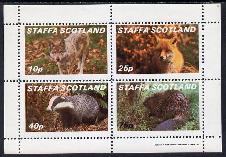 Staffa 1981 Animals #2 (Fox, Badger, Wolf & Beaver) perf  set of 4 values (10p to 75p) unmounted mint