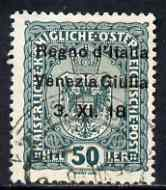 Italy - Venezia Giulia 1918 Austrian 50h green with 'no stop after 18' variety fine used, SG 41var