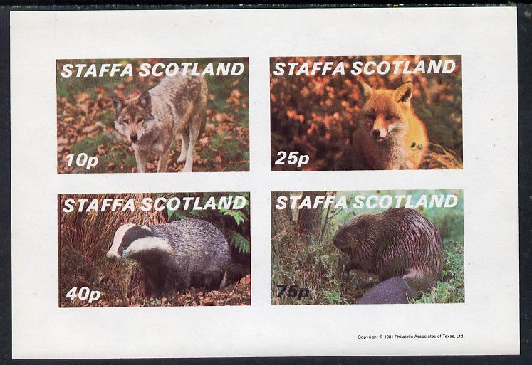 Staffa 1981 Animals #2 (Fox, Badger, Wolf & Beaver) imperf  set of 4 values (10p to 75p) unmounted mint