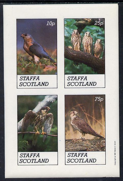 Staffa 1981 Birds of Prey #02 imperf  set of 4 values (10p to 75p) unmounted mint