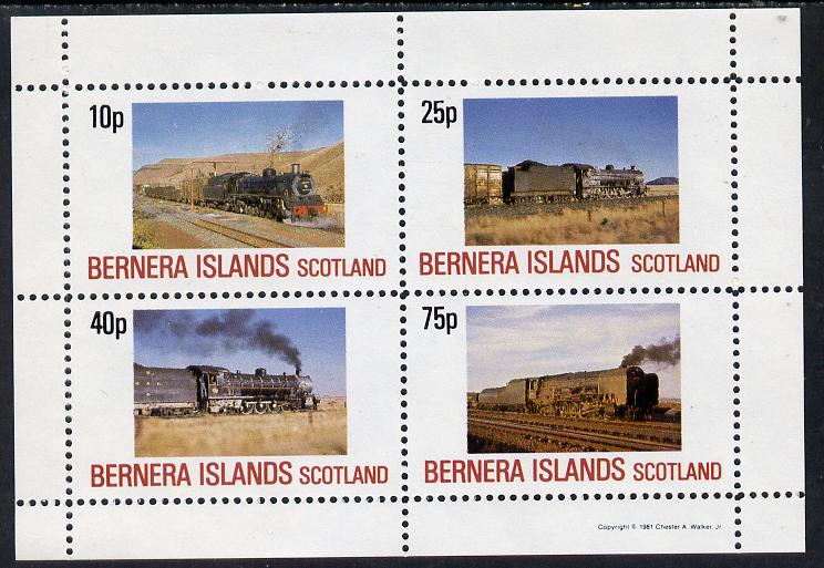 Bernera 1981 Steam Locos #02 perf  set of 4 values (10p to 75p) unmounted mint