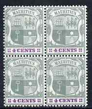 Mauritius 1895-99 Arms 4c fine mounted mint block of 4 one stamp with 'white flaw on N' SG 130var